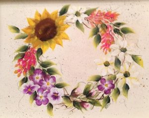 Wildflower wreath on tray (2)